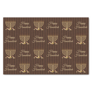 Golden Menorah Happy Hanukkah Vertical Stripes Tissue Paper