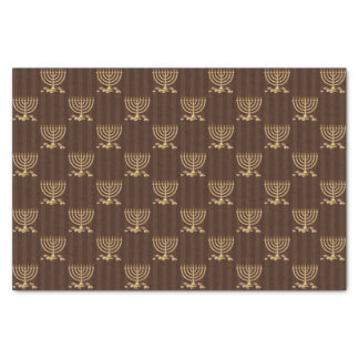 Golden Menorah Vertical Brown Stripes Tissue Paper