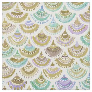 GOLDEN MERMACITA Watercolor Mermaid Scales Fabric