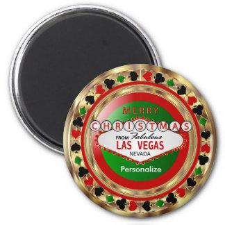 Golden Merry Christmas Las Vegas Style 6 Cm Round Magnet