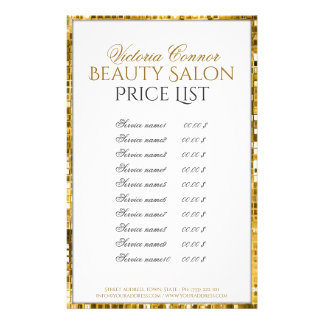 Golden Metal Border Beauty Salon Price List Flyer