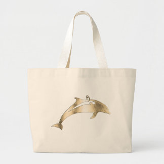 Golden metal dolphin for hanging large tote bag