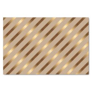 Golden Metallic Diagonal Stripes Tissue Paper