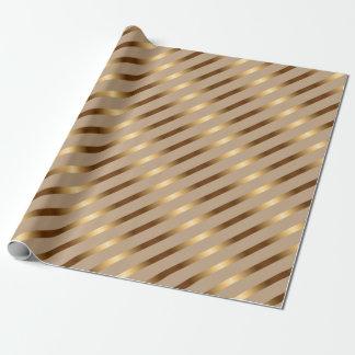 Golden Metallic Diagonal Stripes Wrapping Paper