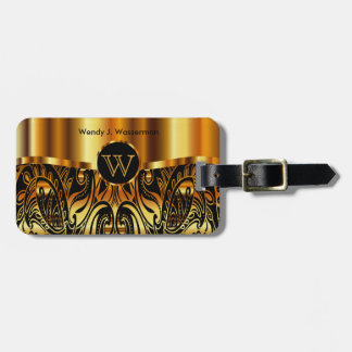 Golden Metallic Paisley Abstract Luggage Tag