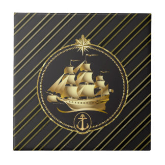 Golden Metallic Sailing Ship & Anchor Gold Stripes Ceramic Tile