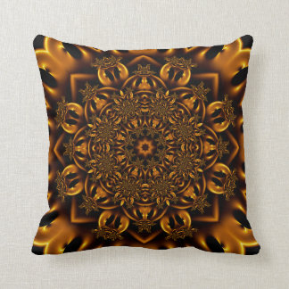 Golden metalwork throw cushion