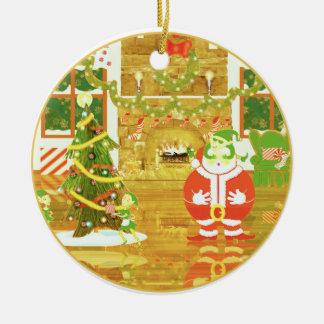 Golden Moments Santa round ornament