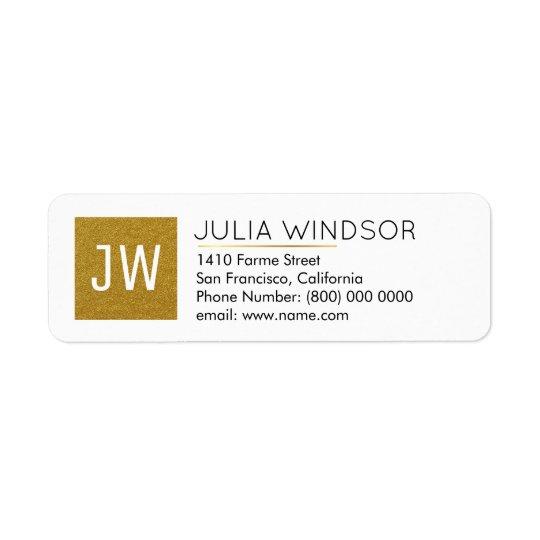 golden monogram (name + initials) return address label