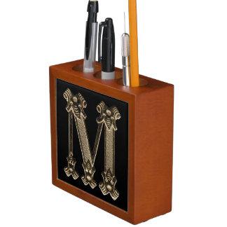 Golden Monogram or Initial Letter M on Black Desk Organiser