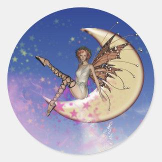 Golden Moon Fairy Fantasy Round Sticker