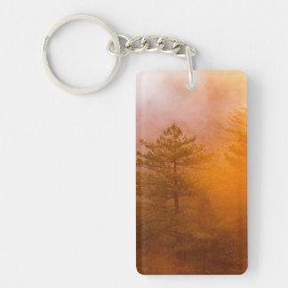 Golden Morning Glory Forest Double-Sided Rectangular Acrylic Key Ring