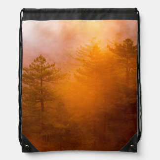 Golden Morning Glory Forest Drawstring Bag