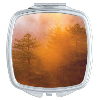 Golden Morning Glory Forest Makeup Mirror