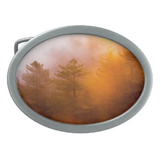 Golden Morning Glory Forest Oval Belt Buckles