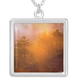 Golden Morning Glory Forest Silver Plated Necklace