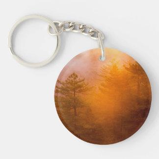 Golden Morning Glory Forest Single-Sided Round Acrylic Key Ring