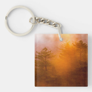 Golden Morning Glory Forest Single-Sided Square Acrylic Key Ring