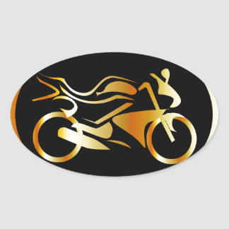 Golden motorbike oval sticker