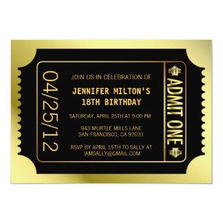 Golden Movie Ticket Card