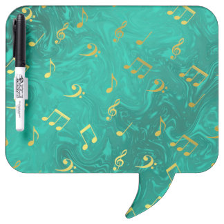 golden music notes in petrol dry erase whiteboards