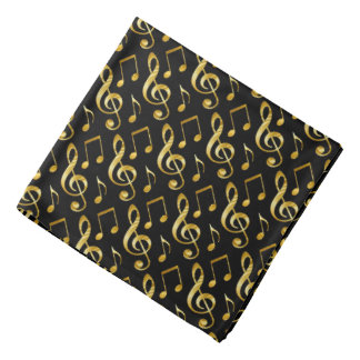 golden music pattern on black kerchiefs