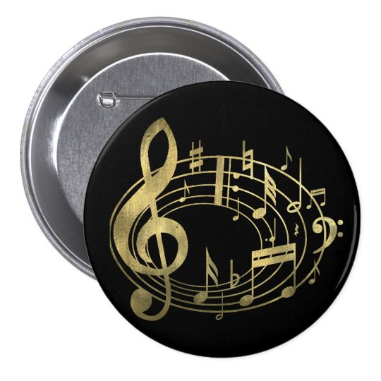 Golden musical notes in oval shape 7.5 cm round badge