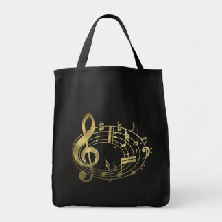 Golden musical notes in oval shape grocery tote bag