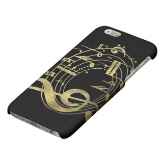 Golden musical notes in oval shape matte iPhone 6 case
