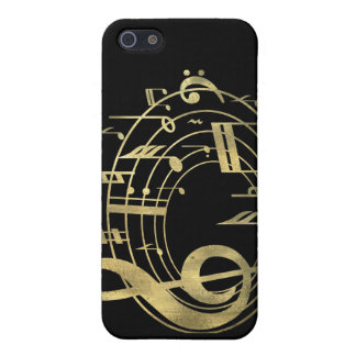 Golden musical notes in oval shape iPhone 5 cases