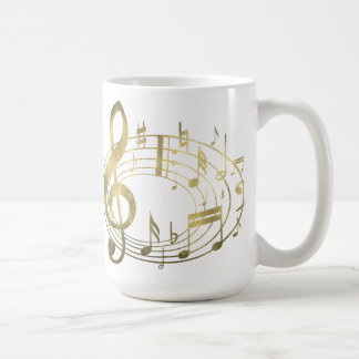 Golden musical notes in oval shape coffee mugs