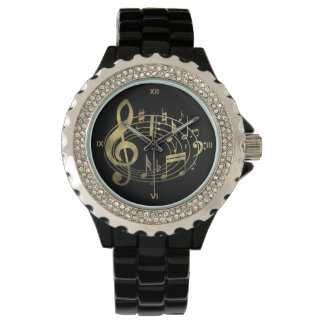 Golden Musical Notes in Oval Shape Watch