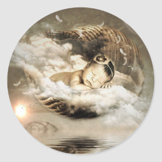 Golden Mystical Baby Floating on Cloud Sticker