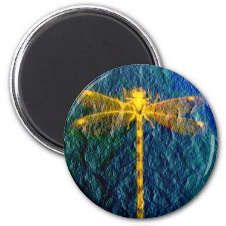 Golden Mythical Dragonfly on Textured Background. 6 Cm Round Magnet