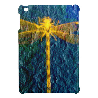 Golden Mythical Dragonfly on Textured Background. iPad Mini Case