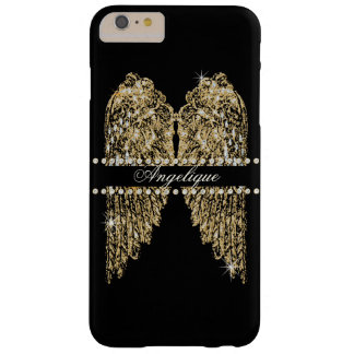 Golden n Diamond Jewel Look Angel Wings Bling Barely There iPhone 6 Plus Case