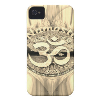 Golden Namaste Symbol with Tree of Life iPhone 4 Case-Mate Cases