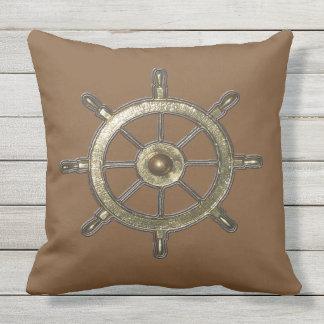 Golden Nautical Ship Wheel Throw Pillow