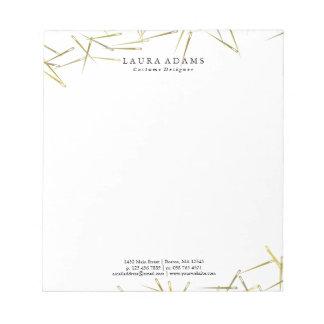 Golden Needles White | Elegant Fashion Designer Notepads