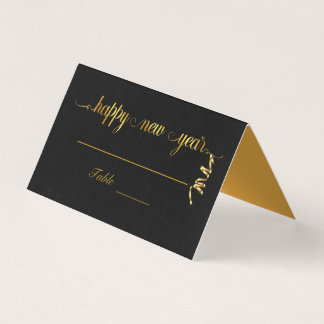 Golden New Year Text with Streamer Place Card