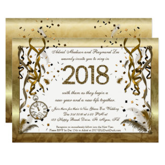 Golden New Years Eve Wedding Invitations