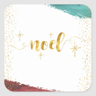Golden Noel with Painted Brush Stroke Square Sticker