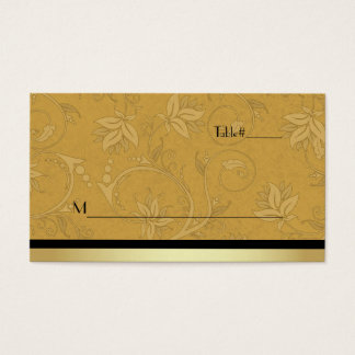 Golden Nouveau Fleur Wedding Place Card