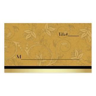 Golden Nouveau Fleur Wedding Place Card Pack Of Standard Business Cards