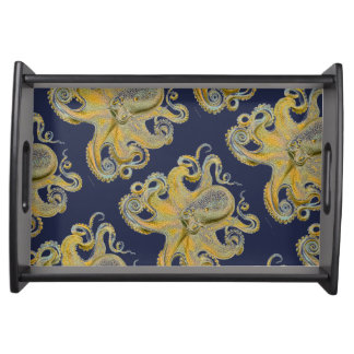 Golden Octopus on Black Background Serving Tray