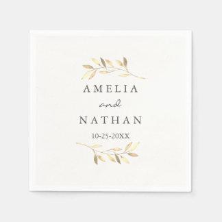 Golden Olive Leaf  Wreath Wedding Napkin Disposable Napkin