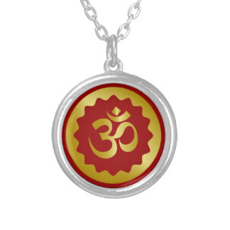 Golden Om Design Round Pendant Necklace