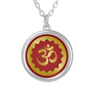 Golden Om Design Silver Plated Necklace