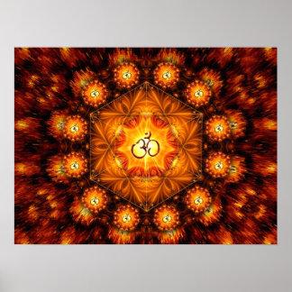 Golden Om Fractal mandala Poster