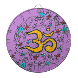 Golden Om on lilac Dartboard
